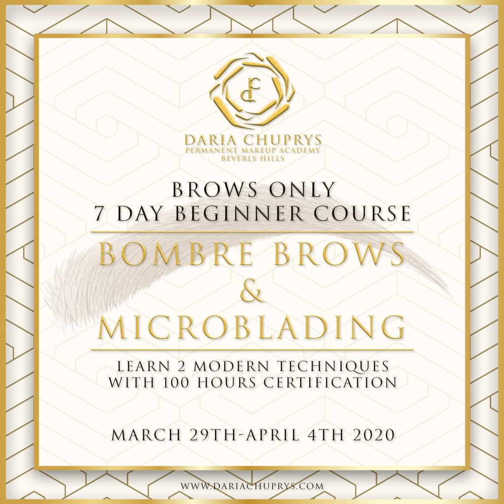 7 Day Beginner Course at the Daria Chuprys Permanent Makeup Academy, learn the best permanent makeup and microblading techniques for brows