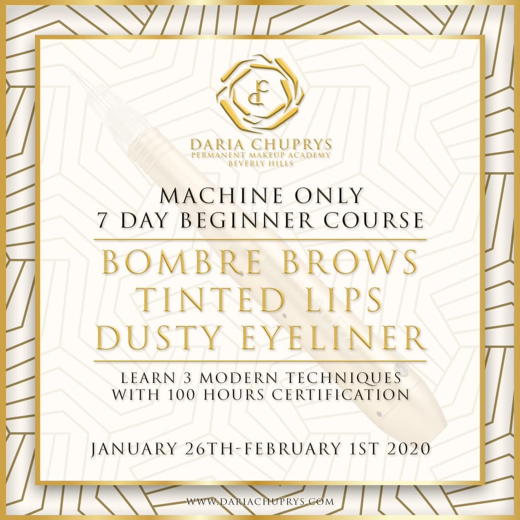 7 Day Beginner Course at the Daria Chuprys Permanent Makeup Academy, learn the best permanent makeup techniques for brows lips and eyeliner