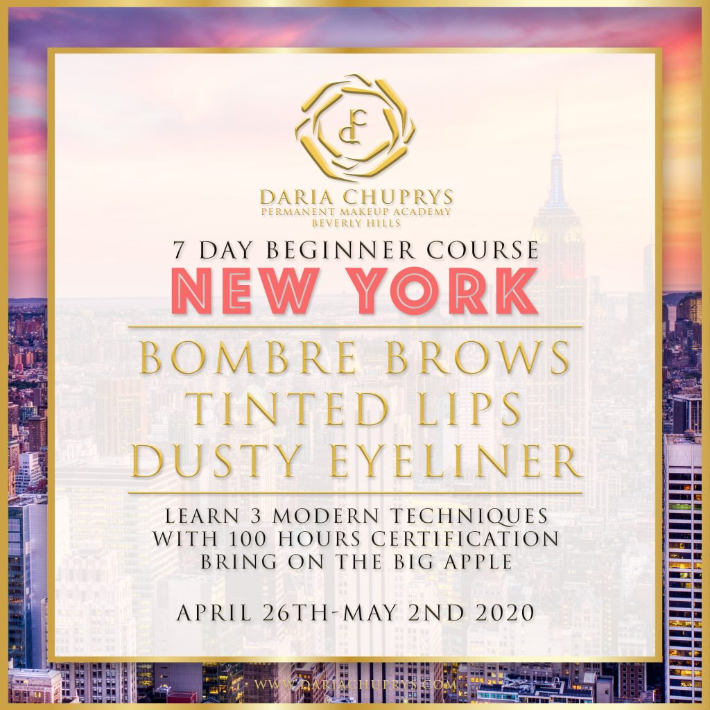 7 Day Beginner Course with the Daria Chuprys Permanent Makeup Academy in New York, learn the best permanent makeup techniques for brows lips and eyeliner